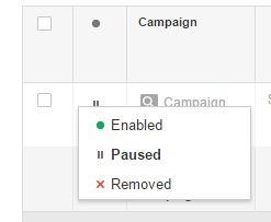 AdWords Campaign Status
