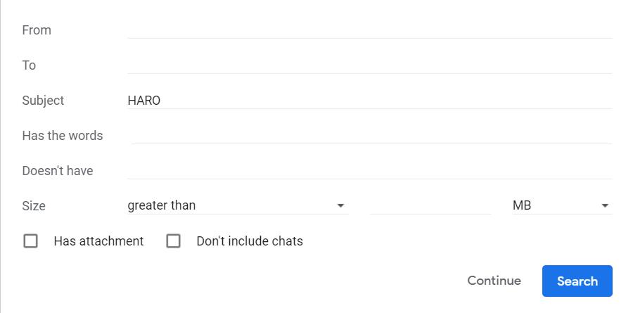 haro gmail filter